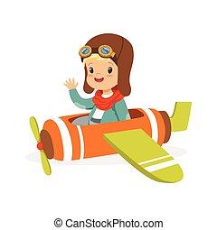 schattig, jongetje, in, piloot, kostuum, vliegen, speelgoed vliegtuig, geitje, dromen, van, het loodsen, de, schaaf, vector, illustratie