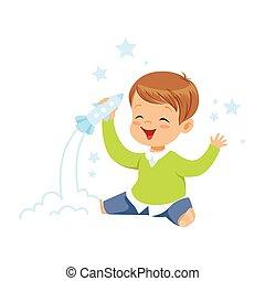 schattig, jongetje, spelend, met, raket, speelbal, geitjes, verbeelding, en, fantasie, kleurrijke, karakter, vector, illustratie