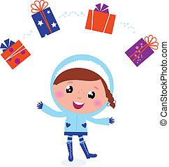 schattig, jugglery, winter, vrijstaand, kadootjes, kind, whit, kerstmis
