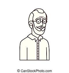 schattig, karakter, avatar, grootvader