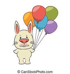 schattig, karakter, ballons, dier, teder, feestje