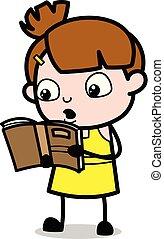 schattig, karakter, -, illustratie, spotprent, vector, girl lezen, boek