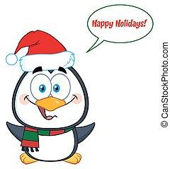 schattig, karakter, kerstmis, penguin