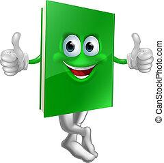 schattig, karakter, op, boek, groene, duimen