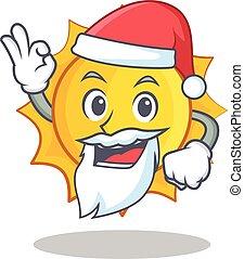schattig, karakter, spotprent, kerstman, zon