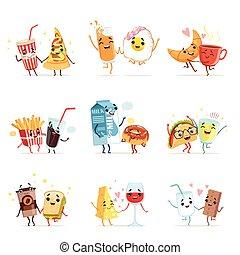 schattig, karakters, voedingsmiddelen, vector, illustraties, komisch, vrienden, spotprent, best