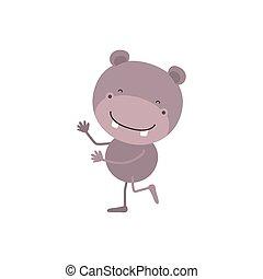 schattig, karikatuur, nijlpaard, kleurrijke, dancing