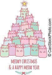schattig, kat, boompje, vector, kerstmis kaart