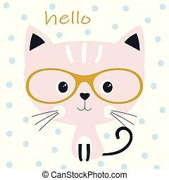 schattig, kat, bril