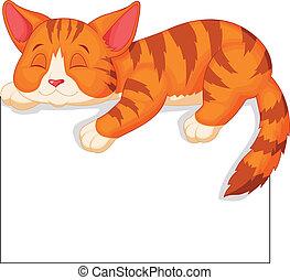 schattig, kat, spotprent, slapende
