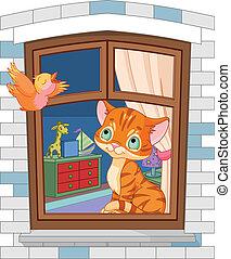 schattig, katje, zittende , op, de, venster