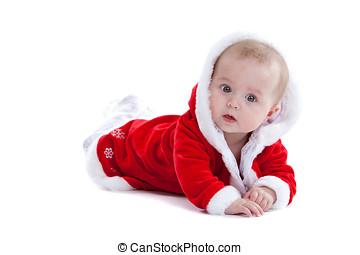 schattig, kerstmis, baby