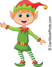 schattig, kerstmis, elf, spotprent, presenti