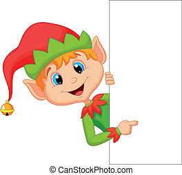 schattig, kerstmis, elf, spotprent, wijzende