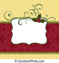 schattig, kerstmis, postkaart, mal