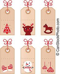 schattig, kerstmis, retro, markeringen, verzameling, vrijstaand, op wit, (, rood, )