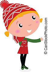 schattig, kerstmis, spotprent, meisje, in, rood, kostuum, vrijstaand, op wit