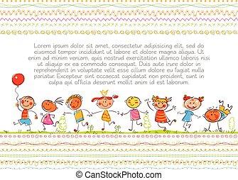schattig, kids., gekke , spotprent, character., in, de, stijl, van, kinderen, werkjes