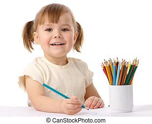 schattig, kind, verlekkeert, met, kleur, potloden