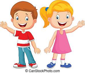 schattig, kinderen, zwaaiende , hand