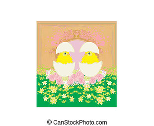 schattig, kippen, en, pasen, boompje, frame