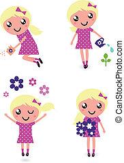 schattig, klein kind, bloemen, lente