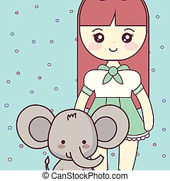 schattig, klein meisje, elefant