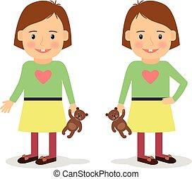 schattig, klein meisje, houdend teddy draag