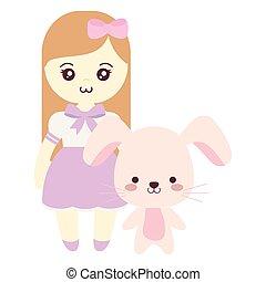 schattig, klein meisje, konijn