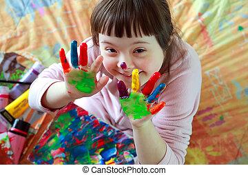 schattig, klein meisje, met, geverfde, handen