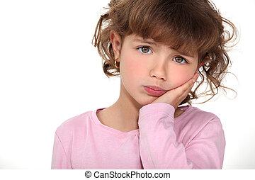 schattig, klein meisje, pouting
