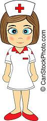 schattig, klein meisje, verpleegkundige