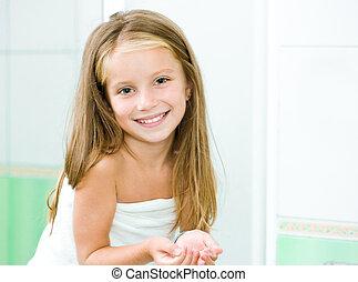 schattig, klein meisje, was