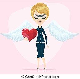 schattig, kleine engel, groet, valentine kaart