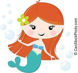 schattig, kleine mermaid, vector