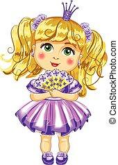 schattig, kleine prinses, in, een, purpere verzorgen van een...