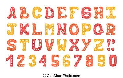 schattig, kleurrijke, alfabet, typografisch, hand-drawn, vector, doodles, design.