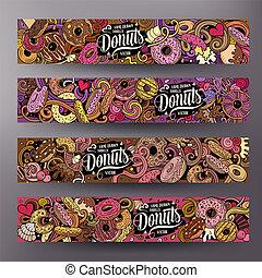 schattig, kleurrijke, donuts, hand, vector, ontwerp, getrokken, doodles, banieren, spotprent
