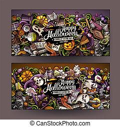 schattig, kleurrijke, halloween, hand, vector, ontwerp, getrokken, doodles, banieren, spotprent