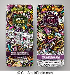 schattig, kleurrijke, kunstenaar, hand, vector, ontwerp, getrokken, doodles, banieren, spotprent
