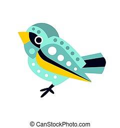 schattig, kleurrijke, mus, karakter, illustratie, spotprent, vector, kleine, vogel