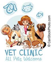schattig, kliniek, welkom, huisdieren, meldingsbord