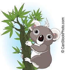 schattig, koala, boompje