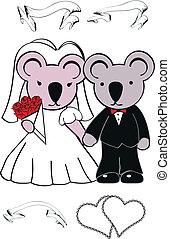 schattig, koala, set, spotprent, trouwfeest