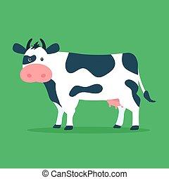 schattig, koe, plat, vrijstaand, illustratie, spotprent, achtergrond., vector, groene, ontwerp, style.