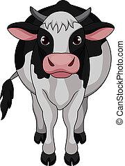 schattig, koe, spotprent
