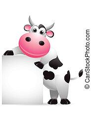 schattig, koe, spotprent, met, leeg teken