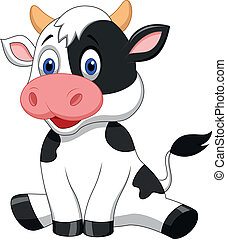 schattig, koe, spotprent, zittende