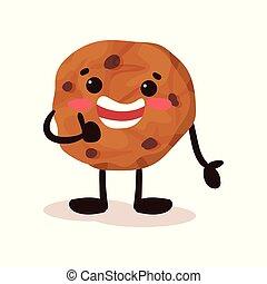 schattig, koekje, met, het glimlachen gezicht, gekke , humanized, gebakje, spotprent, karakter, vector, illustratie, op, een, witte achtergrond