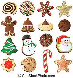 schattig, koekjes, kerstmis